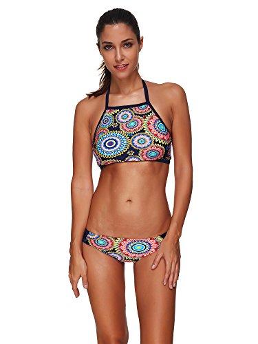 COCO clothing Damen Indischer Stil Bedrucktes Neckholder Bikini Set Triangle Badeanzug Halfter Frauen Zweiteilig Bademode Slip Schwimmanzug 3XL (M) (Hose Roxy Shell)
