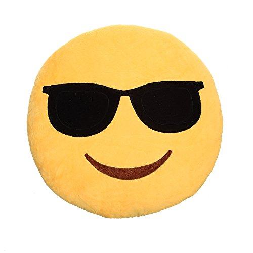 CH Handel Emoticon Emoji Deko Kissen XXL - ca. 35x35 cm, Version:Cool mit Sonnenbrille