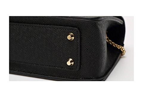 WiTa-Store - Borsa clutch da donna in finta pelle, con tracolla e 3 scomparti laterali, nero (Nero) - 4060131041248 nero