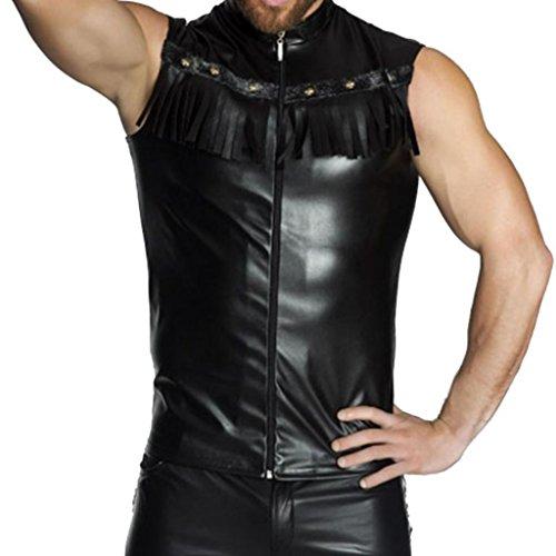 r Kunstleder Shirt Hemd Wetlook Tank Top Weste Unterhemd Reizwäsche Fitness Clubwear Muskelshirt Schwarz XXL (Hip Hop Tanz Kostüme Für Erwachsene)