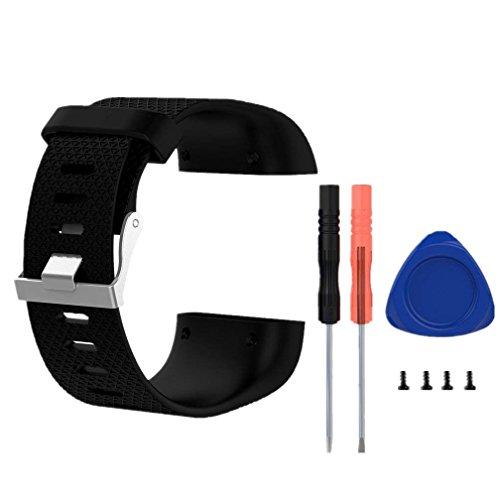 Meiruo Ersatzarmband für Fitbit Surge Super Watch, Armband für Fitbit Surge (L, Schwarz)