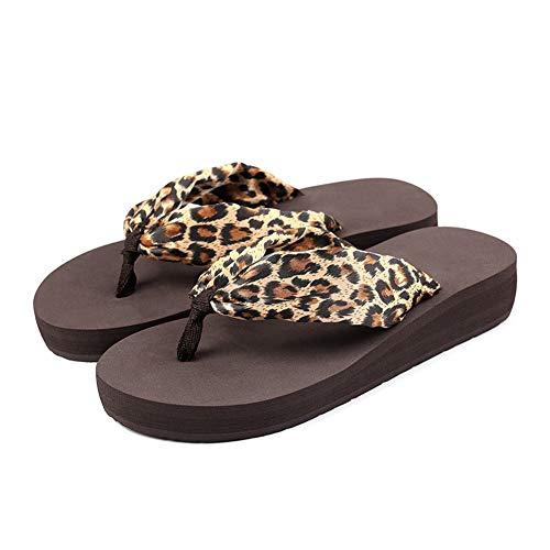 Frauen Flip Flops Leopard-Druck Klippzehesandelholze Flache Peeptoe-Sandalen Pool Hausschuhe Sommer-Strand-Schuhe Leopard Flip Flop Thongs Sandals