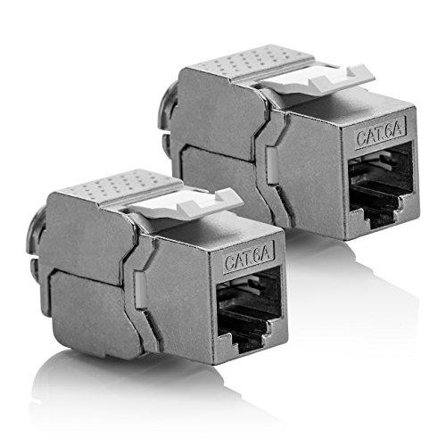 Cat6a-buchse (deleyCON 2X Keystone Modul CAT 6a Jack - Vollgeschirmt STP RJ45 Buchse Werkzeugfrei Dank Snap-In Montage CAT Rohkabel 500Mhz 10GBit/s)
