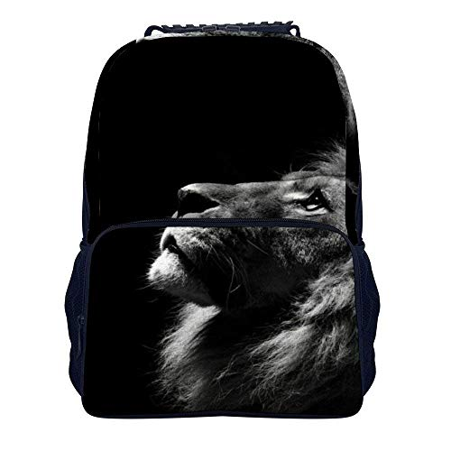 Schulrucksack, Reggae Rasta Lion Rastafarian Lion Black and White Shoulders Backpack Personalized Two Mesh Side Pockets Laptop Bag for Boys and Girls (Side Bag Laptop)