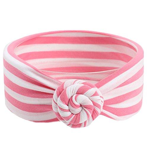 ädchen, Gestreift Haarbänder Kopftuch, Baby Turban Headwrap Knot Stirnband (Rosa) ()