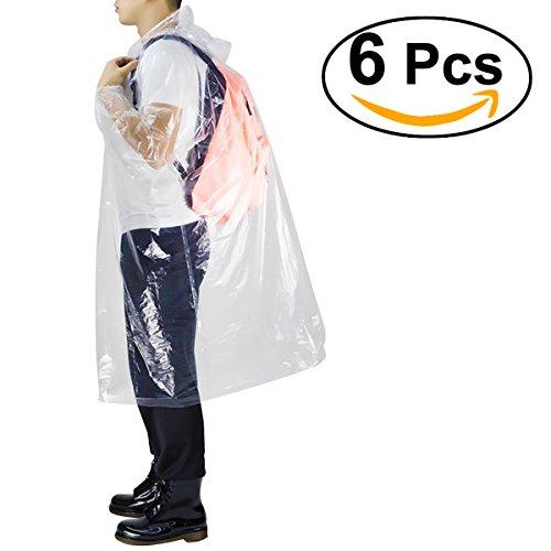WINOMO Regenponcho Einweg-Regenmäntel mit Tunnelzug-Kapuze und elastischen Ärmeln endet Portable Clear Rainwear für Erwachsene Männer Frauen
