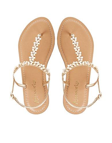 Monsoon Sandalen mit Gänseblümchen und Perlen Nude