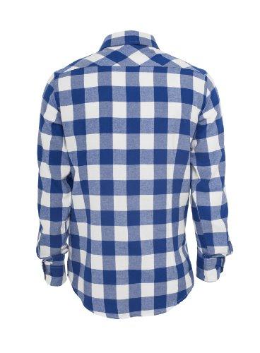 Urban Classics Herren Hemd langarm Checked Flanell Weiß Blau