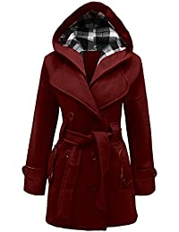 CANDY FLOSS LADIES HOODED BELTED FLEECE JACKET WOMENS COAT TOP PLUS SIZES 8 TO 28 (24, Wine)