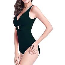 Moollyfox Costume Da Bagno Donna Intero Imbottito Scollo Profondo Capestro Cutout Monokini