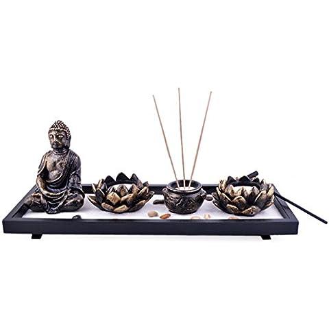 Feng Shui da giardino, Buddha, sabbia, rocce-Bruciatore per incenso, loto con Mxsabrina, colore: rosso senza cordoncino, Sku: H1023