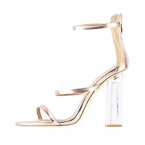 Damen Sandalen Open Toe Lackleder High-Heels Blockabsatz Knöchelriemchen Gold