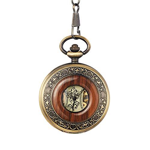 DYH&PW Taschenuhr Massivholz mechanische Taschenuhr FOB Kette Medaillon Zifferblatt hohl Steampunk Skelett Männer Frauen Uhr Watches-in Pocket & Fob Uhren