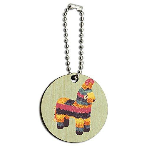 Preisvergleich Produktbild Pinata Esel Colorful Funny Mexikanische Fiesta Cinco De Mayo Holz rund Schlüssel Kette