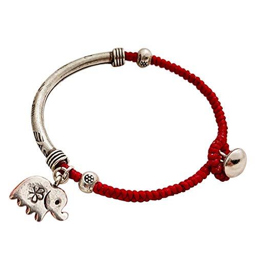 WFYJY-99 Meter Silber handgefertigte alte Silber rote Seil Elefanten-Armband handgemacht Seil einfachen Riemen Geschenke Hand-schmuck