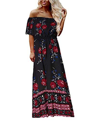Kidsform Damen Maxikleid Short Sleeve Off-Schulter-Split Langes Kleid M x-Schwarz (Schwarz Und Weiß überprüft Kleid)
