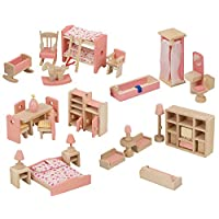 URBN Toys Children Wooden Doll House Furniture Gift Toy Sets (One Of Each)