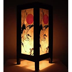 Rare Asia Thai lámpara de mesillas Buda estilo noche japonés puesta del sol grúa pájaro por Tailandia