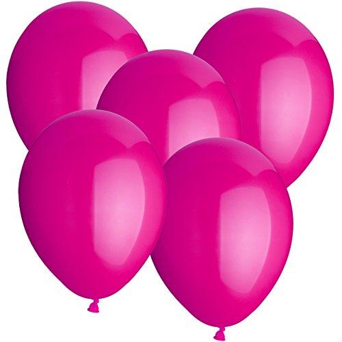 Premium Luftballons Gummiballons Latexballons 30 Stück - Ø 30cm - geeignet als Heliumballon mit Helium - freie Farbauswahl - Weiss Rot Hellblau Blau Dunkelblau Gelb Limonengrün Grün Orange Lachs Pink Rosa Lila Schwarz Klar Durchsichtig (Pink)