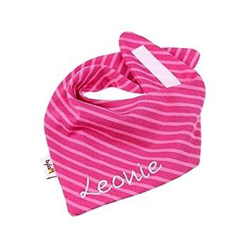 Jersey – Halstuch mit Namen personalisiert * Campen Ringel pink * Sabbertuch