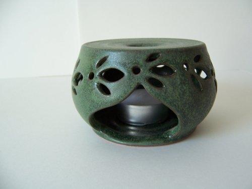 Töpferei Annett Fischer TSV2 Tassenstövchen grün handgetöpfert Stövchen Keramik Höhe ca. 6 cm Durchmesser ca. 8 cm