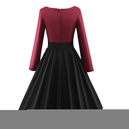 Luouse Robe de Soiree ,Vintage Rockabilly style,Retro Années 50, Jupe, Swing,Pin up ,Parfaite Pour Soiree Dansante 3Winered&Black