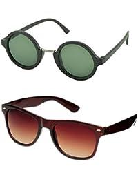 edb92989f2 Aventus Stylish Sunglasses Combo-Brown Wayfarer Sunglasses   Green Round  Sunglasses for Men Women