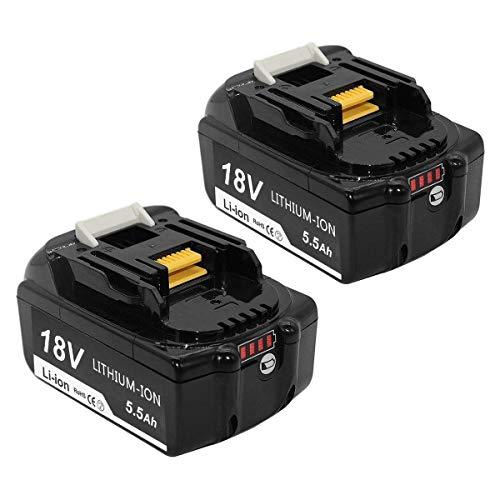 [2 Stück] Boetpcr BL1860B 18V 5.5Ah Lithium Ersatz für Makita Akku BL1860 BL1850 BL1850B BL1830 BL1830B BL1840 BL1815 BL1845 194204-5 LXT-400 Akku-Elektrowerkzeuge mit LED-Ladeanzeige