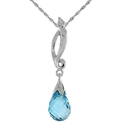 """& VORTICE in oro bianco 9 kt, pendente con topazio blu, con diamanti da 0,01 carati, taglio a brillante, 1 1/8 in., 29 cm di altezza, w/45,72 cm (18"""") catenina da"""
