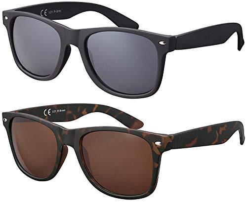 Original La Optica Verspiegelte UV400 Unisex Sonnenbrille Art - Farben, Einzel-/Doppelpacks (Doppelpack Rubber (Rahmen: 1 x Schwarz, 1 x Tortoise))