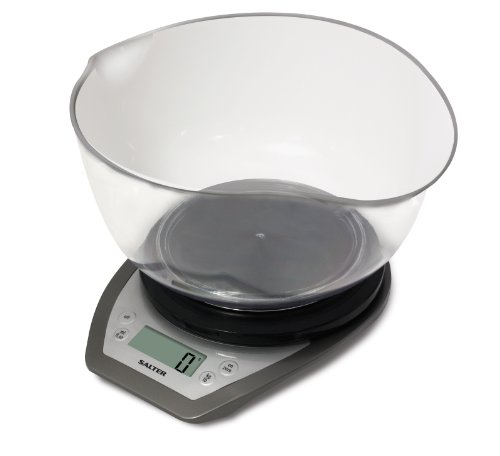 Salter Digital Electronic Kitchen Scales - 2 Litre Dual Pour Mixing Bowl, Perfect for Cooking, Baking, Food / Liquid Weighing, Easy Read Display, Metric / Imperial, 15 Year Guarantee – Black/Silver