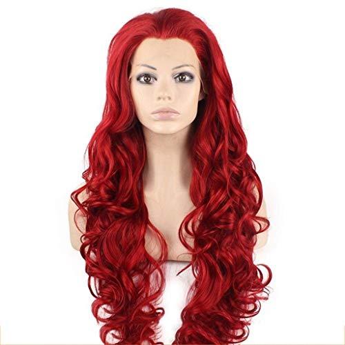 ZHAO YING Vordere Spitze Handgewebtes rotes langes lockiges Haar Ma Mawei Realistische Haarperücke Set Performance Get Together (Color : Red) -