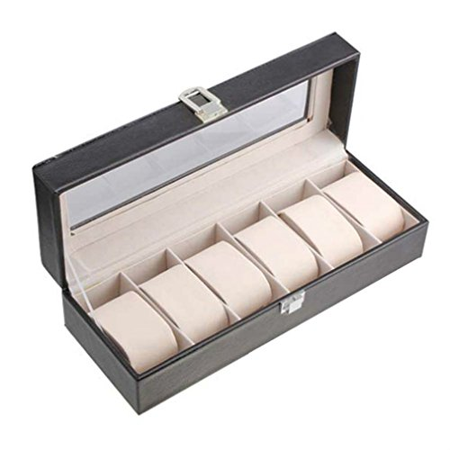 Armbanduhr Aufbewahrungsbox, starall 6Slots Leder Uhr Schmuck Display Aufbewahrungsbox Fall Armband Tablett Organizer mit Kissen Halterungen, weiß)