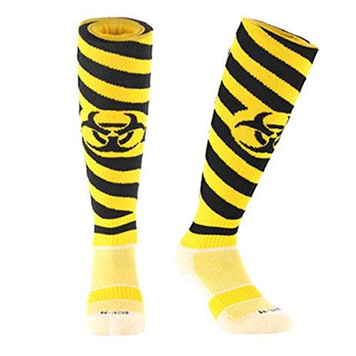 Samson Strumpfwaren® Strahlung Aufdruck Funky Neuheit Fashion und Casual Geschenk Socken Fußball Rugby Sports Knie Hohe Socken für Männer Frauen Kinder unisex Gr. S, Yellow/Black Radiation