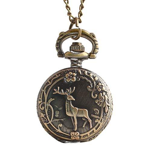 Joielavie Kleine Taschenuhr, Hirsch, Blumendesign, arabische Zahlen, Blumenmuster, verziert, Halskette, Legierung, bronzefarben