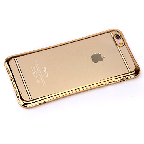 iPhone 6/6S plus 5.5 Custodia,Ukayfe Premium Transparent Dipinto Chiaro Case Cover Bumper Copertina Morbido in Silicone Gel e TPU pelle,Trasparente Ultrasottile 3D Fashion Fiore Paesaggio Case Vernici Oro