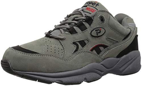Propet M2034Herren Stabilität des Walker Sneakers Leder Schuhe, grau - Grey/Black Nubuck - Größe: 49,5 EU -
