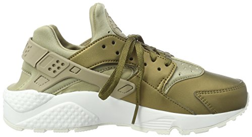 Nike Air Huarache Run Prm TXT, Chaussures de Gymnastique Femme Vert (Khaki/mtlc Field/summit White)