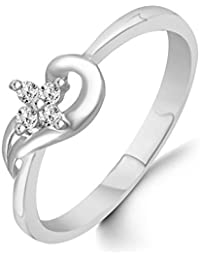Classic Center Star Pattern Diamond Studded Rhodium Plated Alloy Cz American Diamond Finger Ring For Women & Girls...