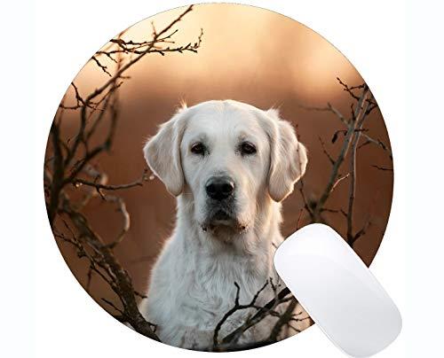 Runde Gaming-Mausunterlage aus Naturkautschuk, bedruckt mit Pet Boxer Dog - Stitched Edges