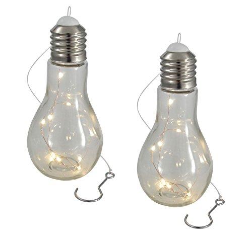 LED Glühbirne mit Lichterkette - 2 Stück - Glas Glühlampe Hängelampe Tisch Leuchte Licht Lampe (Betrieben Hängelampen Batterie)