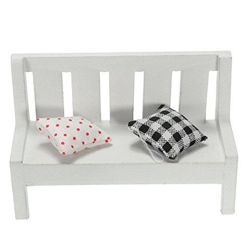 SODIAL(R) Chaise en bois blanc de Paysage miniature Dollhouse plantes ornementales decoration bricolage jardin maison artisanat sofá