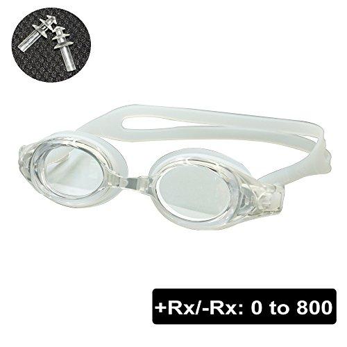 EnzoDate optische Brille Hyperopie RX + 1 bis + 8 Myopie - 1 bis-8 Erwachsene Kinder unterschiedliche Stärken für jedes Auge Schwimmen (Kraft: +8, Transparent)