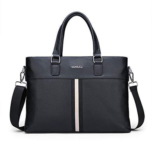 Top Zip-aktentasche (JOCCX Herren robuste echtes Leder Laptoptasche Aktentasche Umhängetasche Top-Zip Laptop Messenger Bag Blac)