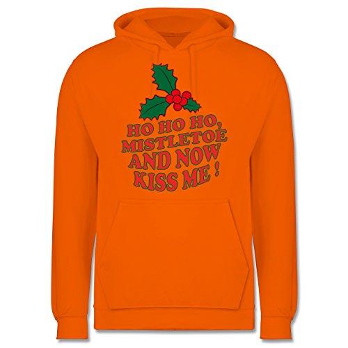 Weihnachten & Silvester - Ho Ho Ho, Mistletoe and now kiss me - Ho Ho Ho, Mistelzweig - küss mich endlich - Männer Premium Kapuzenpullover / Hoodie Orange