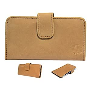 Jo Jo A8 Nillofer Leather Carry Case Cover Pouch Wallet Case For XOLO A500 Tan