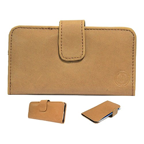 Jo Jo A8 Nillofer Leather Carry Case Cover Pouch Wallet Case For Apple iPhone 6 Plus 64 GB Tan  available at amazon for Rs.295