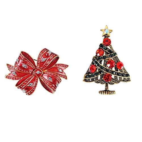 tsbaum Brosche Pin Schleife Kristall Urlaub Geschenk Brosche für Pullover Kleid Schal Weihnachtsdeko ()