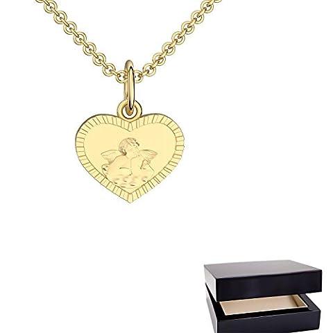Herz Engel Anhänger Herzkette Engelkette Gold 333 ** inkl. GRATIS