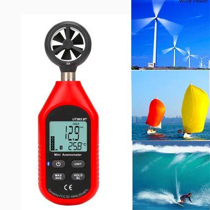 LCXNN Anemómetro Digital UT363BT Bluetooth 0-30M / S de Alta Precisión Digital de Viento del Anemómetro del,Mini Termómetro Metro de La Velocidad